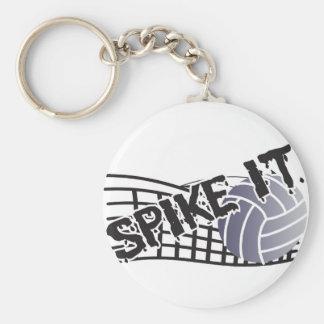 Spike It Volleyball Basic Round Button Keychain
