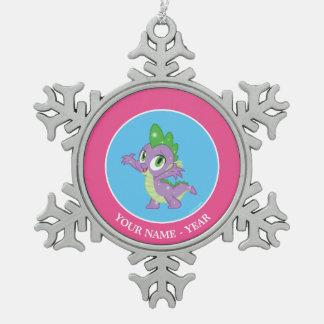 Spike the Dragon Snowflake Pewter Christmas Ornament