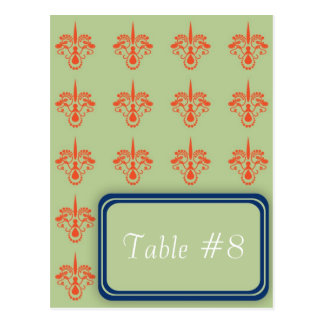Spiked Damask Table Number Postcard Template