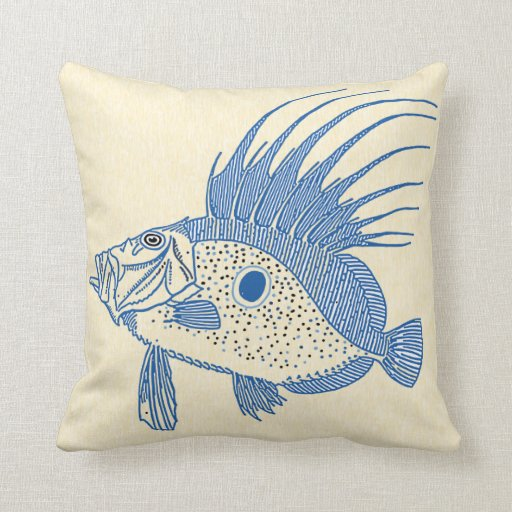 Spiked fish throw pillows zazzle for Fish throw pillows