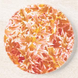 Spiked Leaves Texture Coaster - Orange