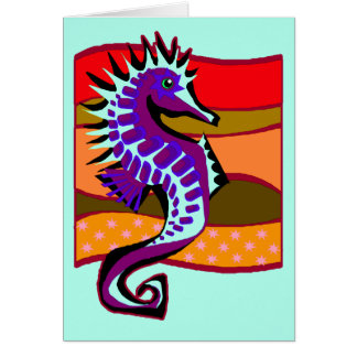 Spiked Purple Seahorse Card