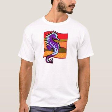 Beach Themed Spiked Purple Seahorse T-Shirt