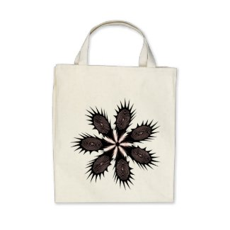 Spikey Fingerprint Flower in Black & Pink on Bag