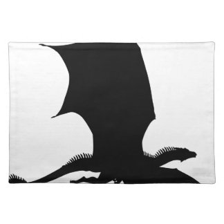 Spiky Dragon Silhouette Cloth Placemat