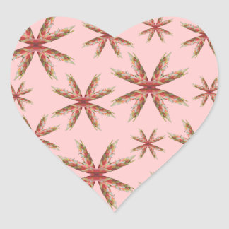 Spiky Flower Pattern, Digital Art Design. On Pink. Heart Sticker
