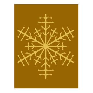 Spiky Gold Winter Christmas Ice Crystal Postcard