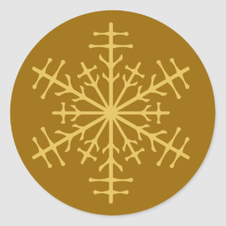 Spiky Gold Winter Christmas Ice Crystal Classic Round Sticker