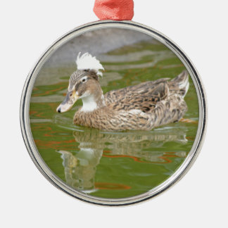 Spiky haired duck metal ornament