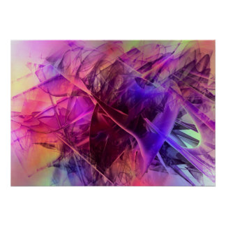 Spiky Shiny Glass Shards Abstract Design Poster