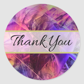 Spiky Shiny Glass Shards Abstract Design Thank You Classic Round Sticker