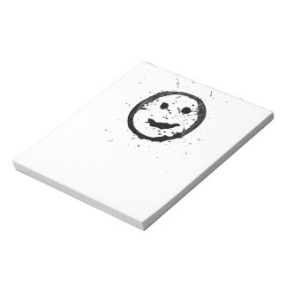 Spilled and Stained Happy Smiley face Notepad