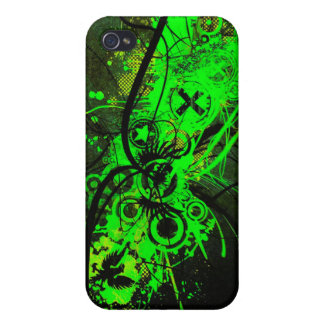 spilled radioactive green color abstract art cover for iPhone 4