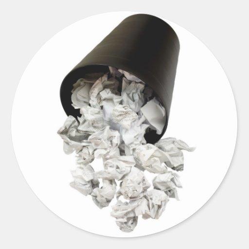 Spilled wastepaper basket sticker