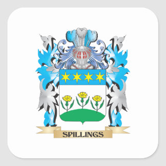 Spillings Coat of Arms - Family Crest Square Sticker