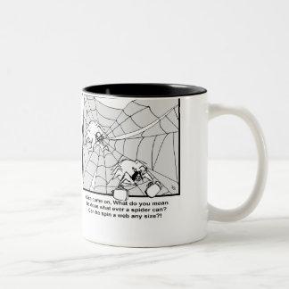 spin a web Two-Tone coffee mug