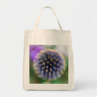Spin Flower Purple and Green Digital Art Grocery Tote Bag