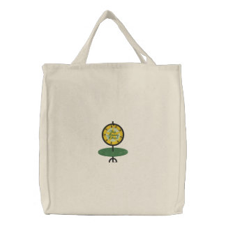 Spin That Wheel Embroidered Tote Bag