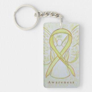 Spina Bifida Angel Awareness Ribbon Keychain