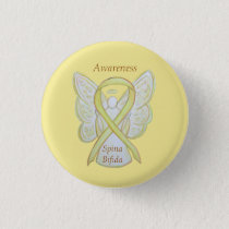 Spina Bifida Angel Yellow Awareness Ribbon Pins