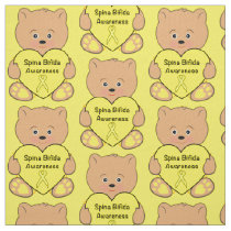 Spina Bifida Awareness Ribbon with Teddy Bear Fabric
