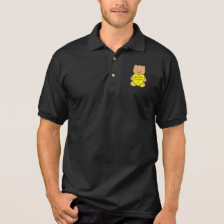 Spina Bifida Awareness Ribbon with Teddy Bear Polo Shirt