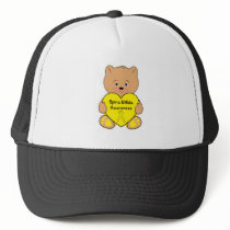 Spina Bifida Awareness Ribbon with Teddy Bear Trucker Hat