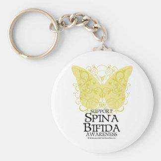 Spina Bifida Butterfly Basic Round Button Keychain