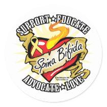 Spina Bifida Classic Heart Classic Round Sticker