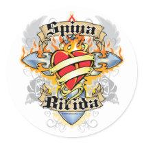 Spina Bifida Cross & Heart Classic Round Sticker
