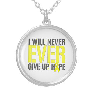 Spina Bifida I Will Never Ever Give Up Hope. Round Pendant Necklace