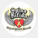 Spina Bifida Wings Classic Round Sticker