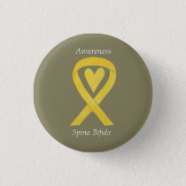 Spina Bifida Yellow Heart Awareness Ribbon Pins