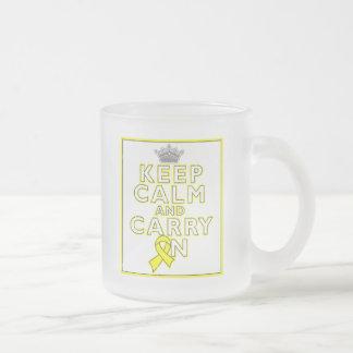 Spina bífido guarda calma y continúa taza de café