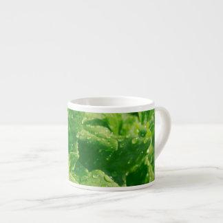Spinach and raindrops espresso cup