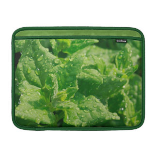 Spinach and raindrops MacBook sleeves