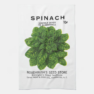 Spinach Seed Packet Label Hand Towel