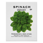 Spinach Seed Packet Label Posters