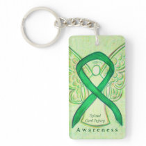 Spinal Cord Injury Angel Awareness Ribbon Keychain