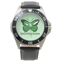 Spinal Cord Injury Butterfly Awareness Ribbon Wristwatch