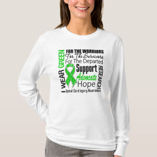 Spinal Cord Injury I Wear Green Ribbon Tribute T-Shirt