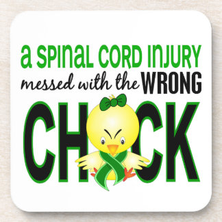 Spinal Cord Injury Messed With Wrong Chick Beverage Coasters