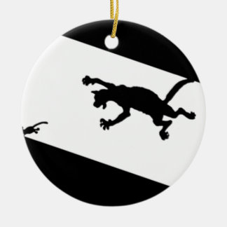 Spinderok - Cat Chasing Mouse Ceramic Ornament