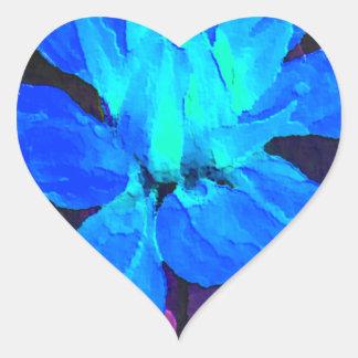 Spinderok - dalia azul pegatina en forma de corazón