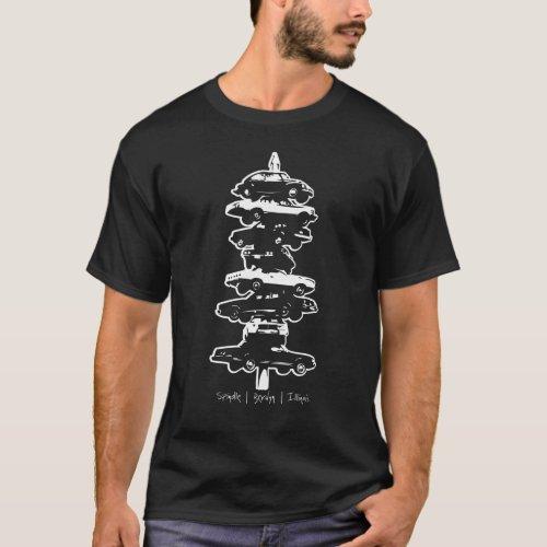Spindle Berwyn Illinois car sculpture t_shirt dark