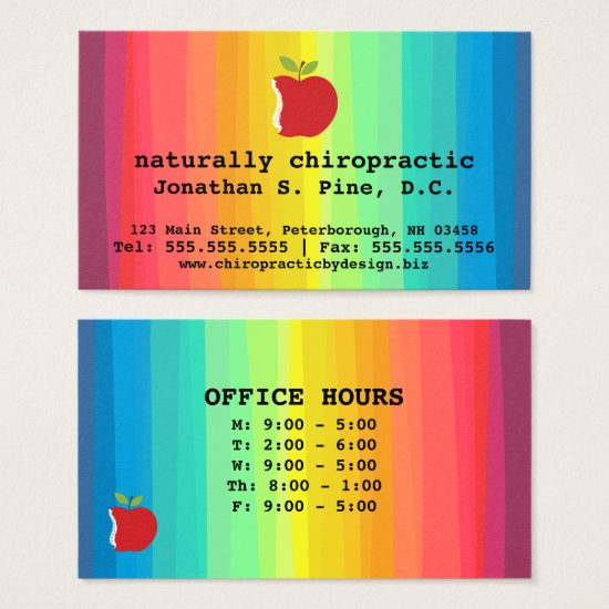 Spine Apple and Rainbow Office Hours Chiropractor Business Card