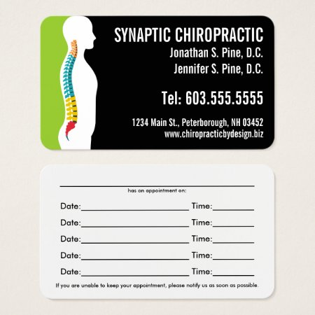 Spine Silhouette Chiropractic Appointment Cards