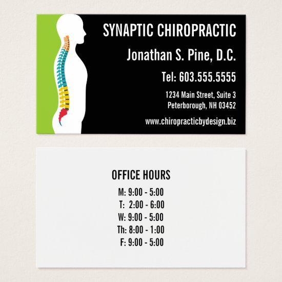 Spine Silhouette Graphic Office Hours Chiropractor Business Card
