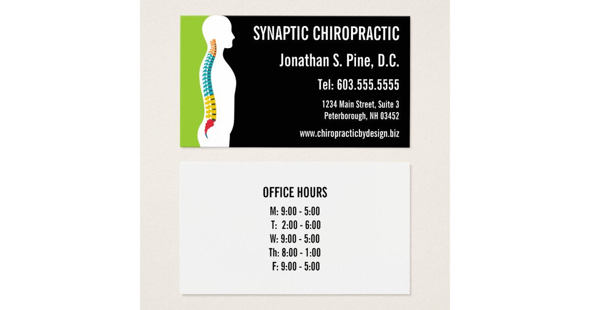 Spine Silhouette Graphic Office Hours Chiropractor Business Card ...