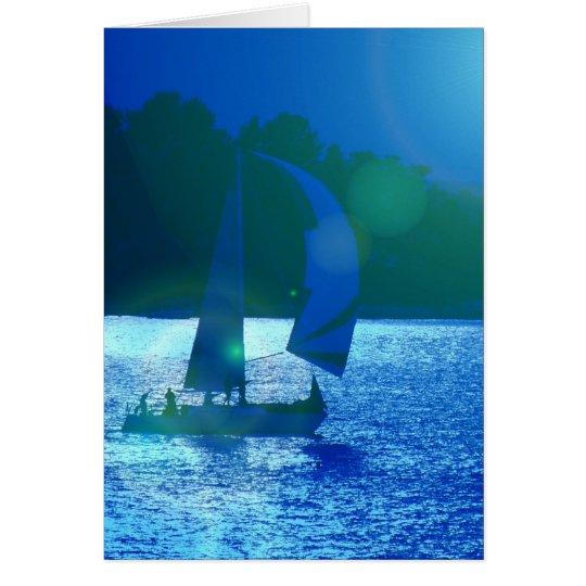 Spinnaker Racing Sailboat  Greeting Card